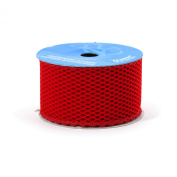 Berwick 6.4cm Wide by 10-Yard Spool Wired Edge Fishnet Craft Ribbon, Scarlet