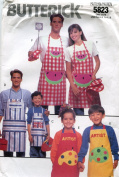 Butterick Pattern 5823 ~ Family Full Aprons, Chef's Hat, Cooking Mitt, Potholder with Alphabet