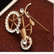 Crystal Brooch Lovely Bicycle Female Scarf Buckle Pin Brooch Large Shawl Sweater Buckle Dual
