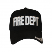 Fire Department FD hook and loop One Size Fits All Black with White Embroidered