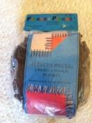 Fleeces Pieces Brown No-Sew Blanket Single Tassels