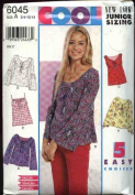 New Look 6045 Sewing Pattern Juniors Sleeveless Spahetti Strap Tops Size 3/4 - 13/14
