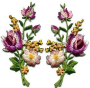 Pink Lavender Roses Flowers Floral Bouquet Boho Applique Iron-on Patches S-985 Cute Gift to Your Cloth.