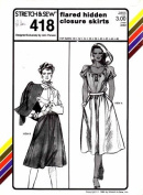 Stretch & Sew 418 Ladies the Flared Hidden Closure Skirts Sewing Pattern (Hip) Sizes 30-32-34-36-38-40-42-44-46