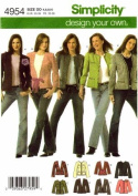 Simplicity 4954 Sewing Pattern Misses Lined Jackets Trim Variations Size 4 - 10