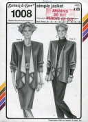 Stretch & Sew Pattern 1008 ~ Ladies' Simple Jacket ~ Bust 30-46