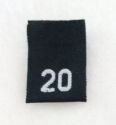 Size 20 (Twenty) Black Woven Clothing Size Labels