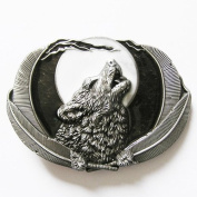 new western moon and howling wolf feature enamelled belt buckle WT111