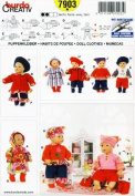 BURDA 7903 ~ DOLL CLOTHES SEWING PATTERN (BABY DOLLS 41cm - 46cm ) COAT, BOOTS, BERET, TOP, PANTS