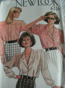 MISSES SHORT & LONG SLEEVE BLOUSES SIZES 8-10-12-14-16-18 VINTAGE 1980 NEW LOOK PATTERN 6316