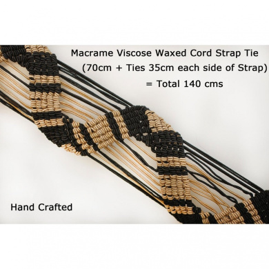 Neotrims Hand Macramé Waxed Viscose Cord Trimming for Tiebacks,Fastening Accessories, Belt Making, Bag Handles. A unique Special Design, Also use as a Tie round Belt. Black & Stone Combo. Beatiful.