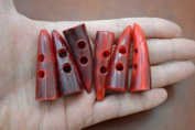 12 Pcs Red Horn Toggle Sewing 2 Hole Buttons Craft 5.1cm