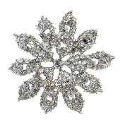 Rhinestone Brooches BW-123 Raised Floral Rhinestone Brooch with Pin