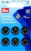PRYM 341169 Sew-on snap fasteners brass Size 15mm black, 6 pieces