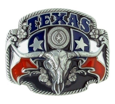 Texas Flag and Longhorn Lone Star State Silver Colour Metal Belt Buckle