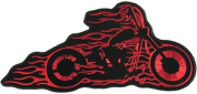 Flaming Bobber Motorcycle Biker Vest Patch Old School