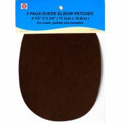2 pc/pkg 11.3cm x 14.8cm IRON-ON DARK BROWN FAUX-SUEDE ELBOW PATCHES