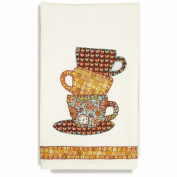 Handmade Teacup Towel Embroidery Kit-46cm x 70cm Stitched In Thread