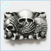 Brand:e & b NEW Casino Three Smiling Skulls Belt Buckle Cs-041bk