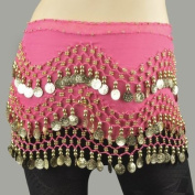 ZITRADES Hot Rose Dancing Hip Scarf Wrap with Gold Coins Great Gift Idea BY ZITRADES