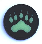 """Bear / Lion """"Claw"""" Glow in the Dark PVC IFF hook and loop Patch"""
