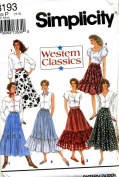 Simplicity Sewing Pattern 8193 Misses' Western Skirts, H