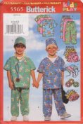Butterick Fast & Easy Pattern 5565 for Kids' Play Top, Shorts, Pants, Hat and Ponytail Holder. Sizes 2,3,4,5.