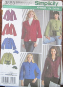 SIMPLICITY PATTERN 3563 MISSES' JACKET AND HAT IN THREE SIZES S (50cm ) M (60cm ) l (60cm ) SIZE R5 14-22