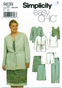 Simplicity 9639 Pattern Women's Lined Jacket,Top,Skirt,Pants or Shorts Size FF 18W-24W