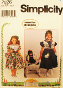 SIMPLICITY Sewing Pattern 7026 ~ Sunrise Designs ~ Little Girl's Dress & Matching 46cm Doll