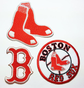 MLB Boston Red Sox Patches 3 Pcs. 8x7.5 Cm/4.5x6 Cm/7.5x7.5 Cm Sew/iron on Patch to Cloth, Jacket, Jean, Cap, T-shirt and Etc.