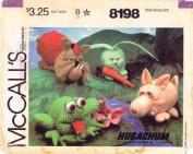 McCall's 8198 Sewing Pattern Hugachum Pig Bulldog Rabbit Frog Carrot