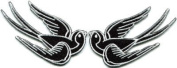 Lot of 2 Bird Tattoo Swallow Dove Sparrow Biker Appliques Iron-on Patches White Handmade Design From Thailand