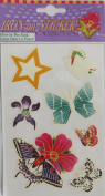 "PACK of 'GLOW In The DARK' IRON ON ""BUTTERFLY, FLOWER & STAR"" STICKERS (Butterflies & Flowers)"