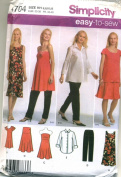 Simplicity Easy to Sew Maternity Shirt and Knit Dress or Tunic, Pants and Skirt or Strapless Top Sewing Pattern # 4704