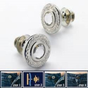 The Original Instant Button Rhinestone For Jeans Removable Button Gold Clear