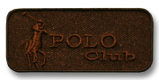 Exclusive Embroidered Motif 'Polo Club' brown, for ironing on