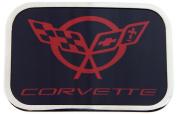 Corvette Logo Red Colour - Black Background with Silver Framed Official Licenced Belt Buckle