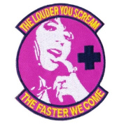 """Pink """"Scream Faster"""" Medic Matrix hook and loop Morale Patch"""