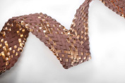 Neotrims Leatherette Woven Herringbone Weave Plaited 5cm Wide Strap Trimming for Coach Pram Accessories, Fastening, Belt Making, Tie Backs, Bag Handles. Beautiful Metallic Semi-Gloss Handcrafted Criss Cross Pattern. Matte Black, Antique Bronze Metallic ..