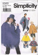 Simplicity 5349 - Retro Poncho Patterns Purse Hat Mittens Patterns - Size BB