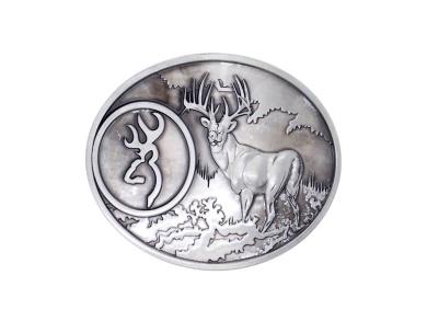 Silver Buck Hunter Deer Hunting Bow Western Logo Belt Buckle