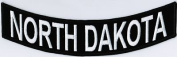 NORTH DAKOTA 25cm x 5.1cm White on Black Back Rocker USA Biker Vest Patch CUS-0073