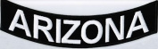 ARIZONA 25cm x 5.1cm White on Black Back Rocker USA STATE Biker Vest Patch CUS-0042