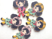 100pcs Mixed Wooden Buttons in Bulk Buttons for Crafts Curly Hair Girls Bu-58