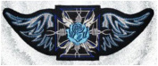 Maltese Cross Winged BLUE Rose Back Patch 9 1/2 x 3 1/2 inch