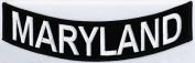 MARYLAND 25cm x 5.1cm White on Black Back Rocker USA STATE Biker Vest Patch CUS-0059