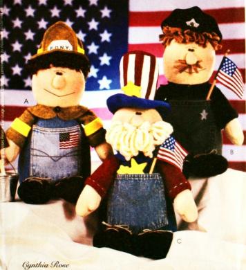 OOP McCall's Crafts Pattern 3841. 43cm Uncle Sam, Fireman & Policeman Dolls
