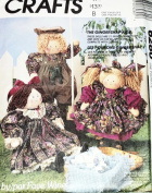 OOP McCall's Crafts Pattern 6280. 50cm Country Boy & Girl & Victorian Girl Rag Dolls with Clothes. The Gingersnap Kids
