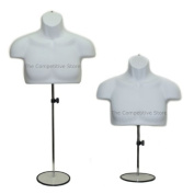 Torso Male W/Metal Base Body Mannequin Form 48cm To 100cm Height For S-M Sizes - White